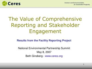 The Value of Comprehensive Reporting and Stakeholder Engagement