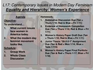 L17: Contemporary Issues in Modern Day Feminism Equality and Hierarchy: Women's Experience