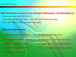 BINP Workshop consists of two divisions (Workshop-1 and Workshop-2) :