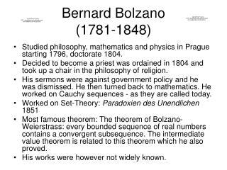 Bernard Bolzano (1781-1848)
