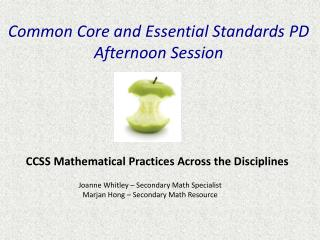 Common Core and Essential Standards  PD Afternoon Session