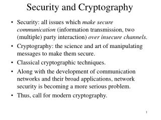 Security and Cryptography