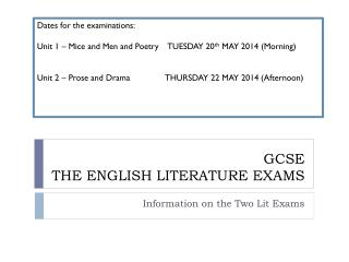 GCSE  THE ENGLISH LITERATURE EXAMS