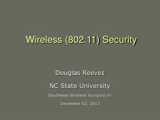 Wireless (802.11) Security