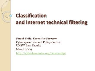 Classification  and Internet technical filtering