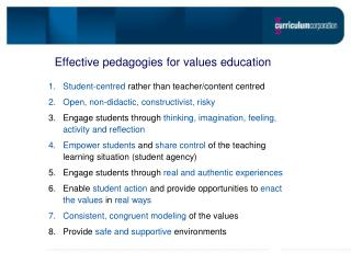 Effective pedagogies for values education