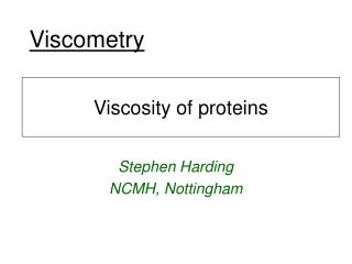 Viscometry
