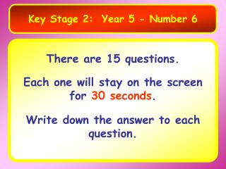 Key Stage 2:  Year 5 - Number 6