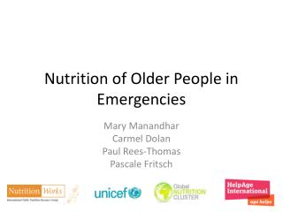Nutrition of Older People in Emergencies