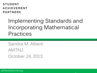 Implementing Standards and Incorporating Mathematical Practices