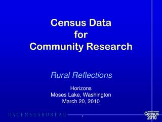 Census Data  for Community Research