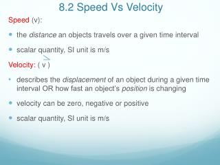 8.2 Speed Vs Velocity