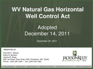 WV Natural Gas Horizontal Well Control Act