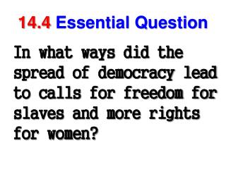 14.4 Essential Question