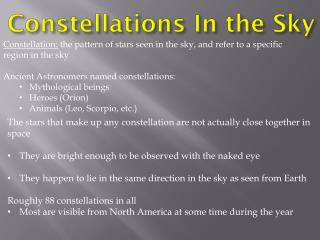 Constellations  In the Sky