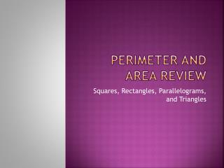Perimeter and Area Review