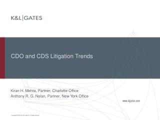 CDO and CDS Litigation Trends