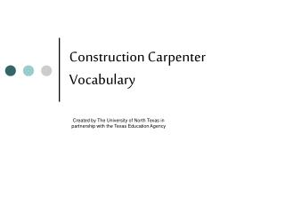 Construction Carpenter Vocabulary