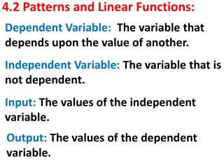 4.2 Patterns and Linear Functions: