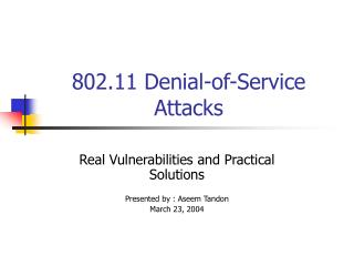 802.11 Denial-of-Service Attacks