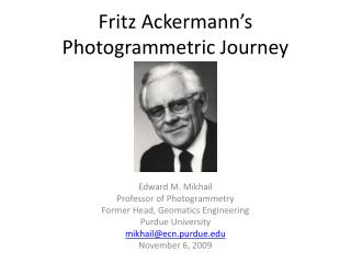 Fritz Ackermann's Photogrammetric Journey