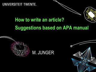 How to write an article? Suggestions based on APA manual