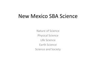 New Mexico SBA Science