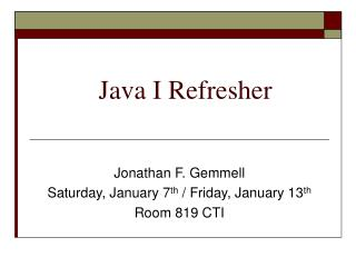 Java I Refresher