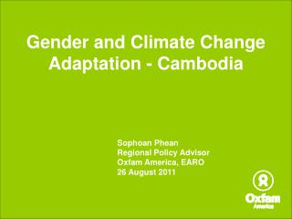 Gender and Climate Change Adaptation - Cambodia
