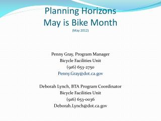 Planning Horizons  May is Bike Month (May 2012)