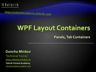 WPF Layout  Containers