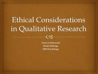 Ethical Considerations in Qualitative Research