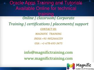 Oracle Apps Training and Tutorials Available Online for tech