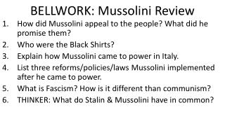 BELLWORK: Mussolini Review