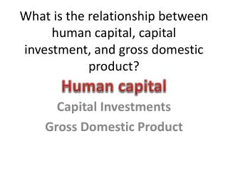 What is the relationship between human capital, capital investment, and gross domestic product?