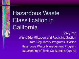 Hazardous Waste Classification in California