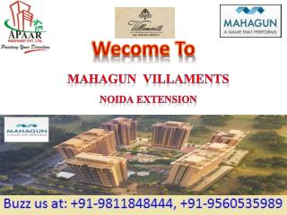 Mahagun Villaments Noida Extension @9560535989 20 - 80 Schem