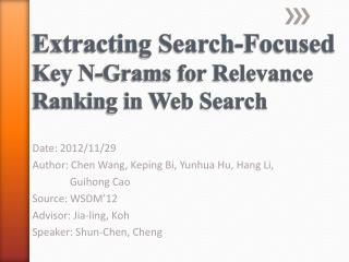 Extracting Search-Focused  Key N-Grams for Relevance Ranking in Web Search