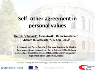 Self- other agreement in personal values