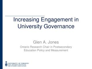 Increasing Engagement in University Governance