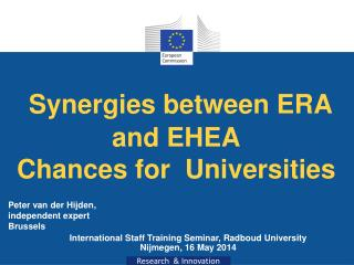 Synergies between  ERA  and  EHEA  Chances for Universities