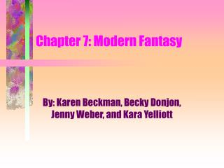 Chapter 7: Modern Fantasy