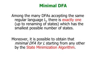 Minimal DFA