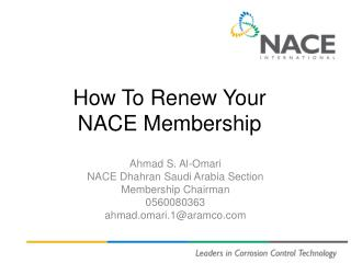 How To Renew Your  NACE Membership