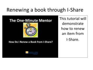Renewing a book through I-Share