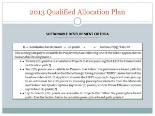 2013 Qualified Allocation Plan