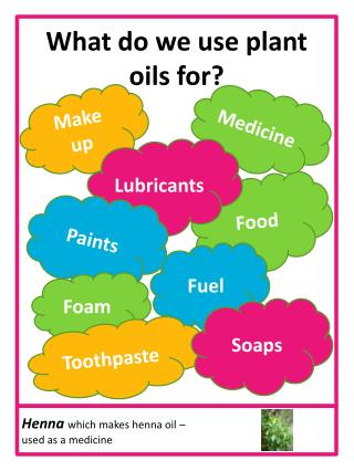 What do we use plant oils for?