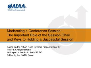 The Session Chair's Role