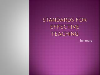 STANDARDS FOR EFFECTIVE TEACHING