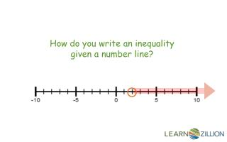 How do you write an inequality given a number line ?